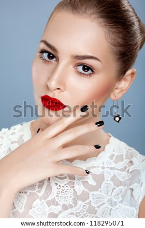 Portrait of beautiful female model with gorgeous red lips - stock photo