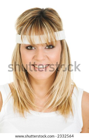Portrait of beautiful fitness girl. Young and pretty woman closeup - stock photo