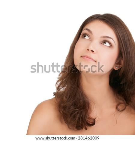 portrait of beautiful, fresh, healthy and sensual girl - stock photo