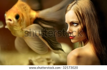 portrait of beautiful girl against an underworld view - stock photo