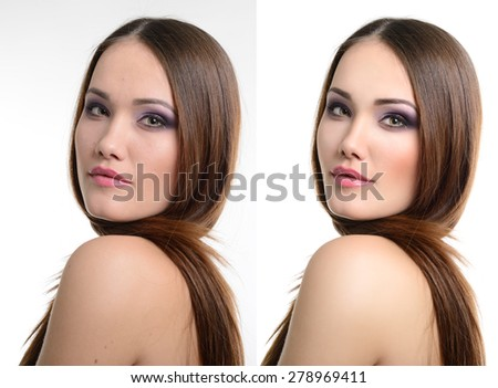 Portrait of beautiful girl before and after retouching. Aging and youth, acne beauty treatment. - stock photo