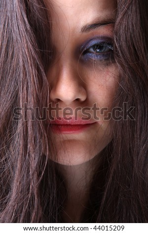Portrait of beautiful girl, crying