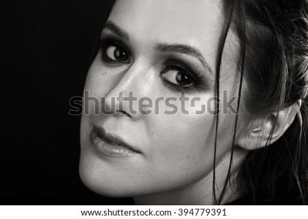 Portrait of beautiful girl in black and white
