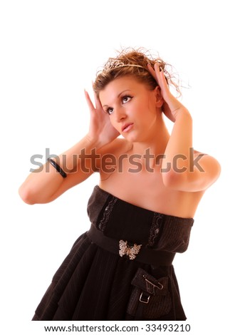 Portrait of beautiful girl in  black dress and with a diadem, isolated on white