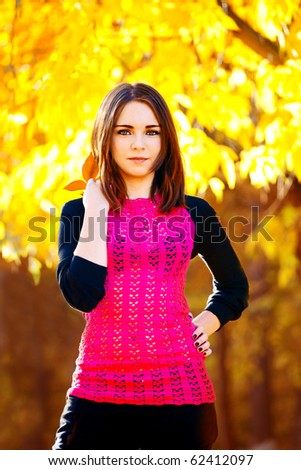 portrait of beautiful girl in the autumn park - stock photo