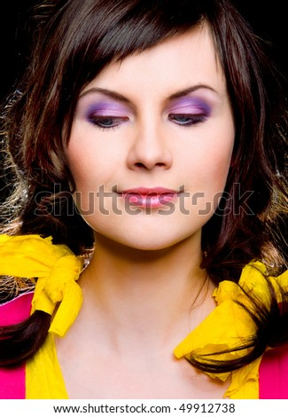 portrait of beautiful girl on black background - stock photo