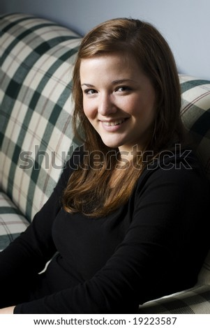 Portrait of Beautiful Girl on couch