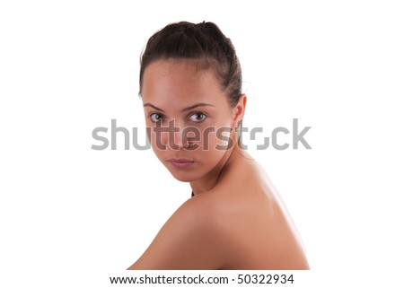 portrait of beautiful girl on white background