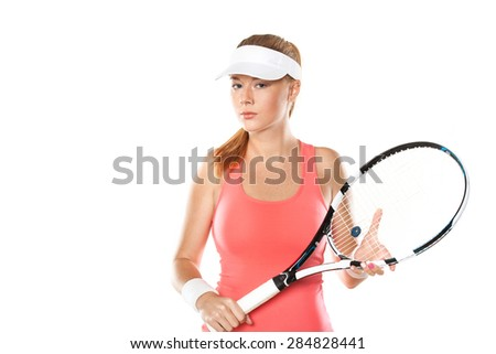 Portrait of beautiful girl tennis player with a racket isolated on white background - stock photo
