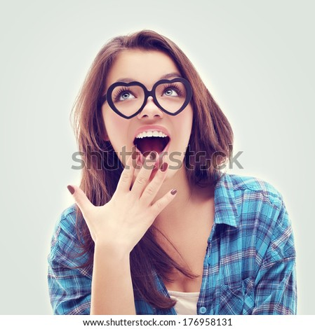 Portrait of beautiful girl  wearing glasses - stock photo