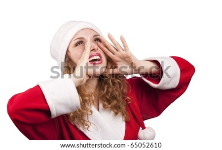 Portrait of beautiful girl wearing santa claus clothes issuing  a call on white background - stock photo