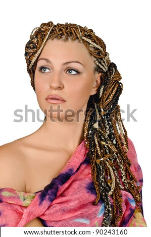 portrait of beautiful girl with african plaits on white - stock photo
