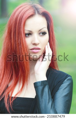 portrait of beautiful girl with big brown eyes - stock photo
