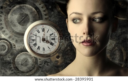 portrait of beautiful girl with clock and gears - stock photo