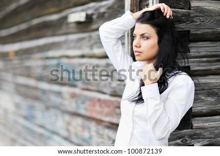 Portrait of beautiful girl with dark hair - stock photo