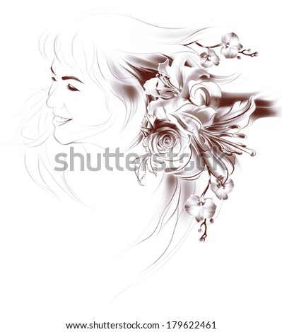 Portrait of beautiful girl with flowers in her hair. Flowers, drawing with simple pencil and coal on old beige paper. Roses, lilies and orchids. Vintage style. The thin smooth lines. Freehand drawing - stock photo