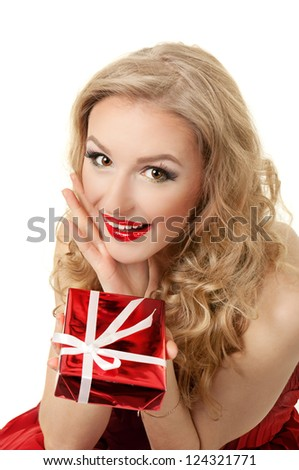 Portrait of beautiful girl with gift box