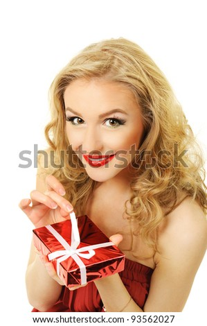 Portrait of beautiful girl with gift box - stock photo