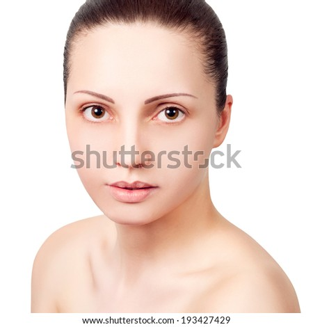 Portrait of beautiful girl with healthy skin - white background