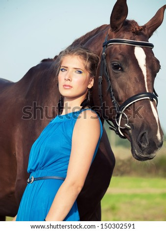 portrait of beautiful  girl  with  horse