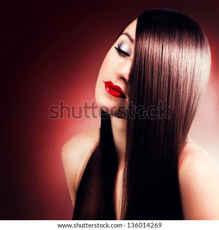 portrait of beautiful girl with long hair - stock photo
