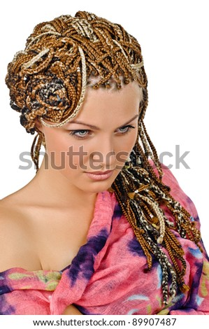 portrait of beautiful girl with plait on grey - stock photo