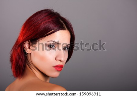 portrait of beautiful girl with red hair - stock photo
