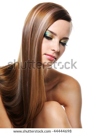 Portrait of beautiful girl with smooth gloss long  straight hair - isolated on white - stock photo