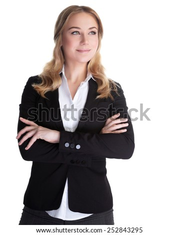 Portrait of beautiful happy business woman isolated on white background, white collar worker, successful career lifestyle - stock photo