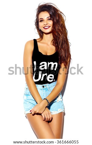 portrait of beautiful happy cute brunette woman bad girl in casual hipster summer clothes - stock photo