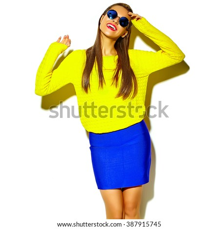 portrait of beautiful happy cute smiling brunette woman girl in casual colorful hipster yellow summer clothes with red lips isolated on white - stock photo
