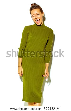 portrait of beautiful happy cute smiling brunette woman girl in casual green hipster summer clothes with no makeup isolated on white - stock photo