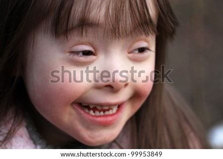 Portrait of beautiful happy girl - stock photo