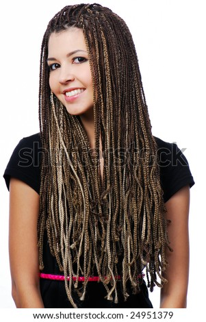 Portrait of beautiful happy girl with dreadlocks - isolated on white - stock photo