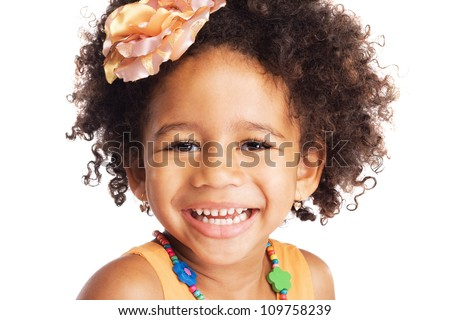 Portrait of beautiful happy little girl - stock photo