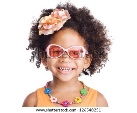 Portrait of beautiful happy little girl in sunglasses - stock photo