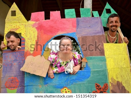 Portrait of beautiful happy people - stock photo