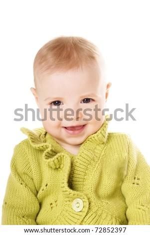 Portrait of beautiful happy smiling baby girl isolated on white background - stock photo