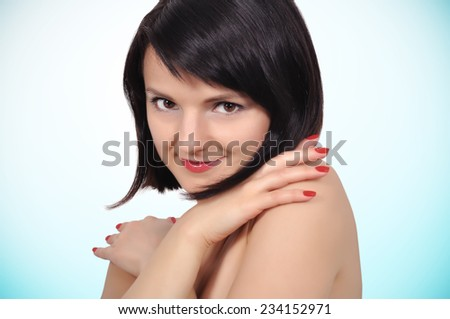 Portrait of beautiful happy smiling woman, close up - stock photo