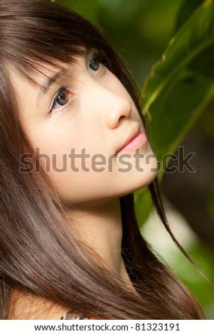 Portrait of beautiful healthy asian girl - stock photo