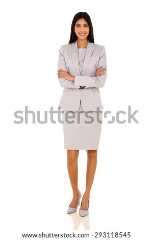 portrait of beautiful indian businesswoman isolated on white - stock photo
