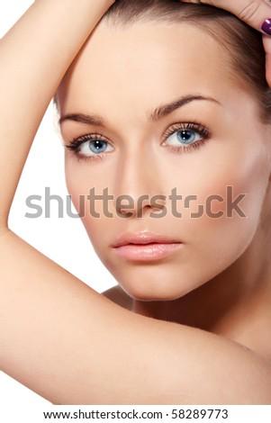 Portrait of beautiful lady with blue eyes isolated on white - stock photo