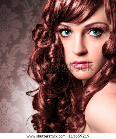 portrait of beautiful lady with red curly hair - stock photo