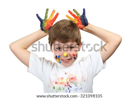 Portrait of beautiful little boy with paints on hands isolated on white