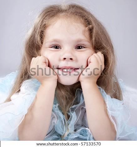 Portrait of beautiful little girl. - stock photo