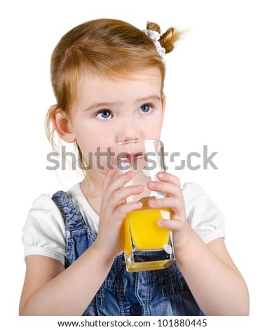 Portrait of beautiful little girl drinking a juice on white background