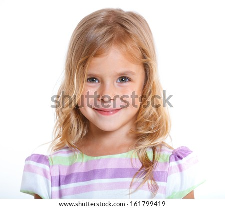 Portrait of beautiful little girl happy smiling on studio. Isolated white background - stock photo