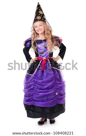 Portrait of beautiful little girl in fairy costume - stock photo