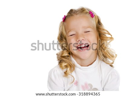 Portrait of beautiful little girl, studio on white background  - stock photo