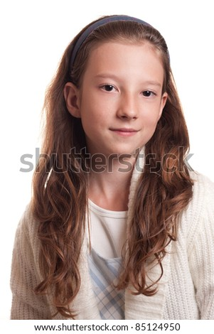Portrait of beautiful little girl with curly hair